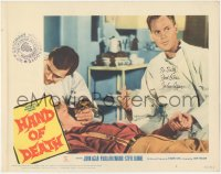 7w0109 HAND OF DEATH signed LC #6 1962 by John Agar, helping youthful victim of the monster!