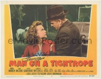 7w0116 MAN ON A TIGHTROPE signed LC #7 1953 by Terry Moore, who's with Fredric March, Elia Kazan!