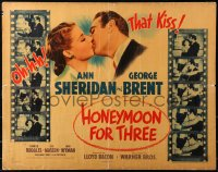 7x0021 HONEYMOON FOR THREE style B 1/2sh 1941 pretty Ann Sheridan & George Brent kissing, ultra-rare!