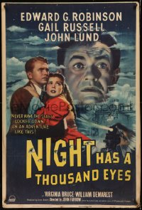 7x0004 NIGHT HAS A THOUSAND EYES 1sh 1948 true clairvoyant Edward G. Robinson posing as fake!