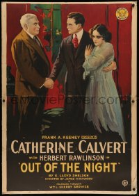 7x0005 OUT OF THE NIGHT style B 1sh 1918 Catherine Calvert is forced into prostitution, ultra rare!