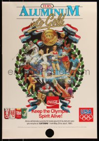 7x0037 COCA-COLA 18x36 special poster 1985 Turn Aluminum into Gold, keep the Olympic spirit alive!