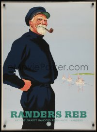 7x0006 RANDERS REB 24x33 Danish advertising poster 1949 great art of sailor smoking pipe!