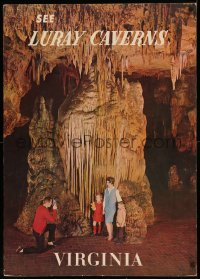 7x0007 LURAY CAVERNS 24x34 travel standee 1960s family in front of rock formation in huge cave!