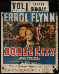 7x0013 DODGE CITY jumbo WC 1939 Errol Flynn, Olivia De Havilland, Michael Curtiz cowboy classic!