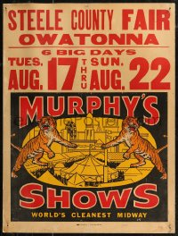 7x0014 MURPHY'S SHOWS jumbo WC 1960s two tigers and a crowded fairground, world's cleanest midway!