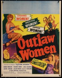 7x0015 OUTLAW WOMEN jumbo WC 1952 cheating women, seductive, savage women, thrilling six gun sirens!