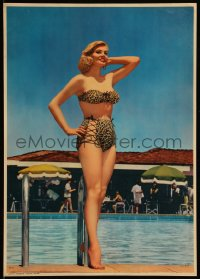 7y0104 ANITA EKBERG 12x17 calendar sample 1959 full-length poolside image in leopard skin bikini!