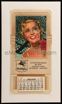 7y0105 BILLY DEVORSS 7x14 calendar 1964 great art of pretty blonde wearing pearl necklace!