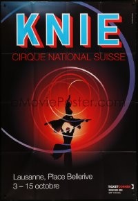 7y0117 KNIE 46x67 Swiss circus poster 2008 cool Noser art of acrobat silhouettes with ribbon!