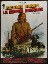 7y1086 MAN IN THE WILDERNESS French 1p 1971 different art of Richard Harris w/ rifle by Jean Mascii!