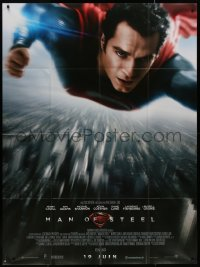 7y1087 MAN OF STEEL advance French 1p 2013 Henry Cavill in costume as Superman flying over city!
