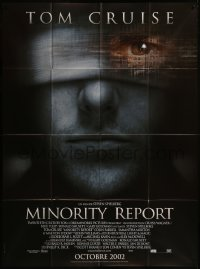 7y1101 MINORITY REPORT advance French 1p 2002 Steven Spielberg, super close image of Tom Cruise!