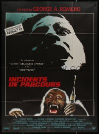 7y1105 MONKEY SHINES French 1p 1989 George A. Romero, different art of creepy monkey with syringe!