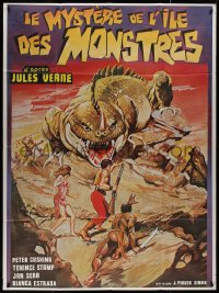 7y1116 MYSTERY ON MONSTER ISLAND French 1p 1983 different sci-fi/fantasy art with giant lizard!