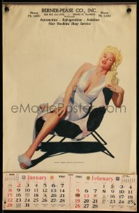 7y0111 JAYNE MANSFIELD 12x19 calendar 1961 full-length sexy portrait of the Blonde Bomber!