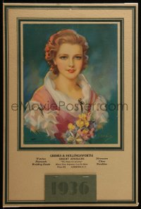 7y0112 JULES ERBIT 11x17 calendar 1936 great art portrait of pretty woman with flowers!