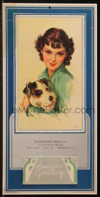 7y0113 JULES ERBIT 8x16 calendar 1940s Seasons Greetings, art of pretty woman with terrier dog!