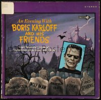 7y0099 EVENING WITH BORIS KARLOFF & HIS FRIENDS 33 1/3 RPM record 1967 Universal monster movie music!