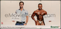 7y0088 BEURRE 50x106 Swiss advertising poster 2010s butter ad comparing average man & bodybuilder!