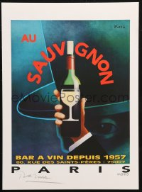 7y0085 RAZZIA signed #495/995 11x15 art print 1982 by the artist, art of hand holding wine, Sauvignon