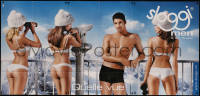 7y0090 TRIUMPH 50x106 Swiss advertising poster 2008 underwear ad with 3 sexy girls & Mr. Suisse!