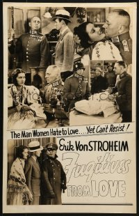 7y0093 FUGITIVE ROAD 14x22 homemade poster 1934 women hate Erich von Stroheim yet can't resist him!