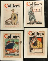 7z0018 LOT OF 4 PAPERBACKED COLLIER'S WWI MAGAZINE COVERS 1915-1916 art from during World War I!
