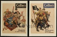 7z0020 LOT OF 2 PAPERBACKED COLLIER'S WWII MAGAZINE COVERS 1942 wild World War II Hitler art!