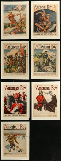 7z0015 LOT OF 7 PAPERBACKED AMERICAN BOY MAGAZINE COVERS 1929-1937 art from nearly a century ago!