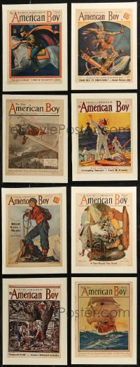7z0011 LOT OF 8 PAPERBACKED AMERICAN BOY MAGAZINE COVERS 1920s-1930s art from nearly 100 years ago!