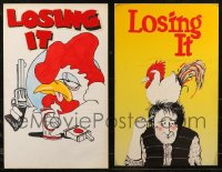 7z0028 LOT OF 2 LOSING IT HOMEMADE 14X22 STAGE POSTERS 1980s great cartoon chicken art!