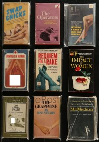 7z0679 LOT OF 9 SEXPLOITATION PAPERBACK BOOKS 1960s-1970s sexy stories with great cover art!