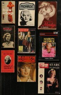7z0649 LOT OF 9 HARDCOVER, SOFTCOVER, AND PAPERBACK MARILYN MONROE BOOKS 1950s-1990s biographies!