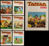 7z0668 LOT OF 7 ITALIAN TARZAN SOFTCOVER BOOKS 1970s Hal Foster Sunday Pages in full color!