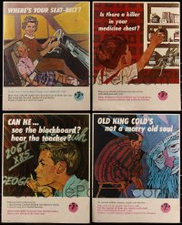 7z0005 LOT OF 4 AMERICAN MEDICAL ASSOCIATION PSA 18.5X23 SIGNS 1960s where's your seatbelt!