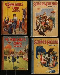 7z0656 LOT OF 4 SCHOOLGIRLS' OWN AND SCHOOL FRIEND ANNUAL ENGLISH HARDCOVER BOOKS 1925-1929 cool!