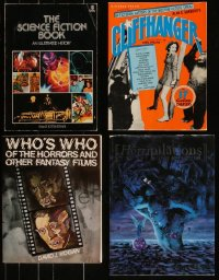 7z0683 LOT OF 4 HORROR/SCI-FI TRADE PAPERBACK BOOKS 1970s-1990s great images & information!