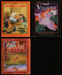 7z0661 LOT OF 3 WALT DISNEY HARDCOVER BOOKS 1992-1993 Pinocchio, Bambi, The Villains Collection!