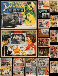 7z0027 LOT OF 28 MEXICAN AND U.S. SPANISH LANGUAGE LOBBY CARDS 1950s-1970s great movie scenes!