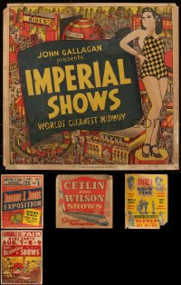 7z0004 LOT OF 5 JUMBO WINDOW CARDS 1930s-1940s cool circus & carnival images!