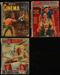 7z0665 LOT OF 3 BOY'S CINEMA ANNUAL ENGLISH HARDCOVER BOOKS 1940-1950 from three different years!