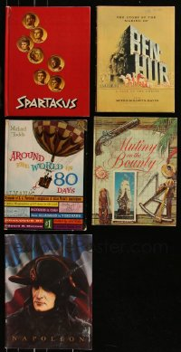 7z0654 LOT OF 5 HARDCOVER AND SOFTCOVER SOUVENIR PROGRAM BOOKS 1950s-1980s Spartacus, Ben-Hur!