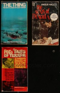 7z0685 LOT OF 3 HORROR/SCI-FI PAPERBACK BOOKS 1962-1982 The Thing, Scars of Dracula, Poe!