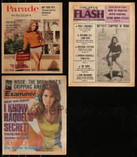 7z0009 LOT OF 3 RAQUEL WELCH MAGAZINES AND NEWSPAPER SECTIONS 1967-1978 great images & artcles!