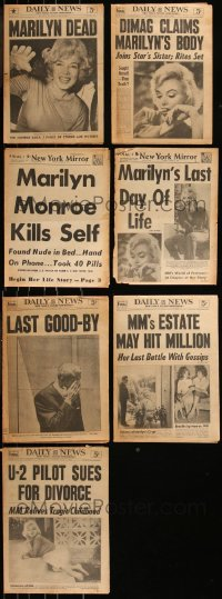 7z0007 LOT OF 7 NEW YORK NEWSPAPERS WITH MARILYN MONROE DEATH COVERS 1962 the day she died!