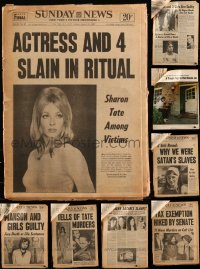 7z0008 LOT OF 13 SHARON TATE DEATH NEWSPAPER CLIPPINGS 1969 murdered by Charles Manson followers!