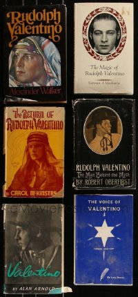 7z0651 LOT OF 6 RUDOLPH VALENTINO HARDCOVER BOOKS 1950s-1970s biographies of the legendary star!