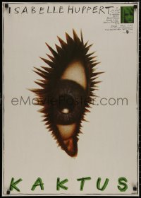 8a0285 CACTUS East German 23x32 1989 Isabelle Huppert, artwork of cactus eye by Ernst!