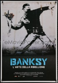 8a0311 BANKSY & THE RISE OF OUTLAW ART Italian 1sh 2020 art of rioter 'throwing' flowers!